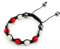 CZ Diamonds Jewelry Bracelets Women Shamballa Clay Disco Beads Cheap Bulk Scotland Wholesale Rhinestone UK red & white