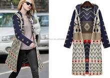 2016 ladies casual extra long pattern knitted hooded cardigan