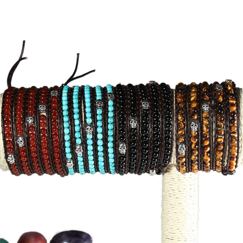Guangzhou Factory china jewelry Handmade DIY Turquoise Bead Leather Wrap mens bracelet luxury istanbul turkey jewelry manufactur