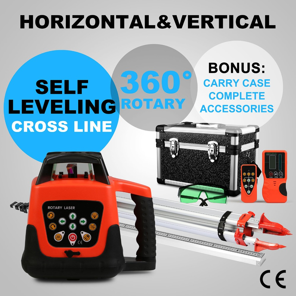 HIGH QUALITY 500M ROTARY GREEN LASER LEVEL+TRIPOD+STAFF LAYOUT TOOL REMOTE CONTROL 5 DEGREE RANGE