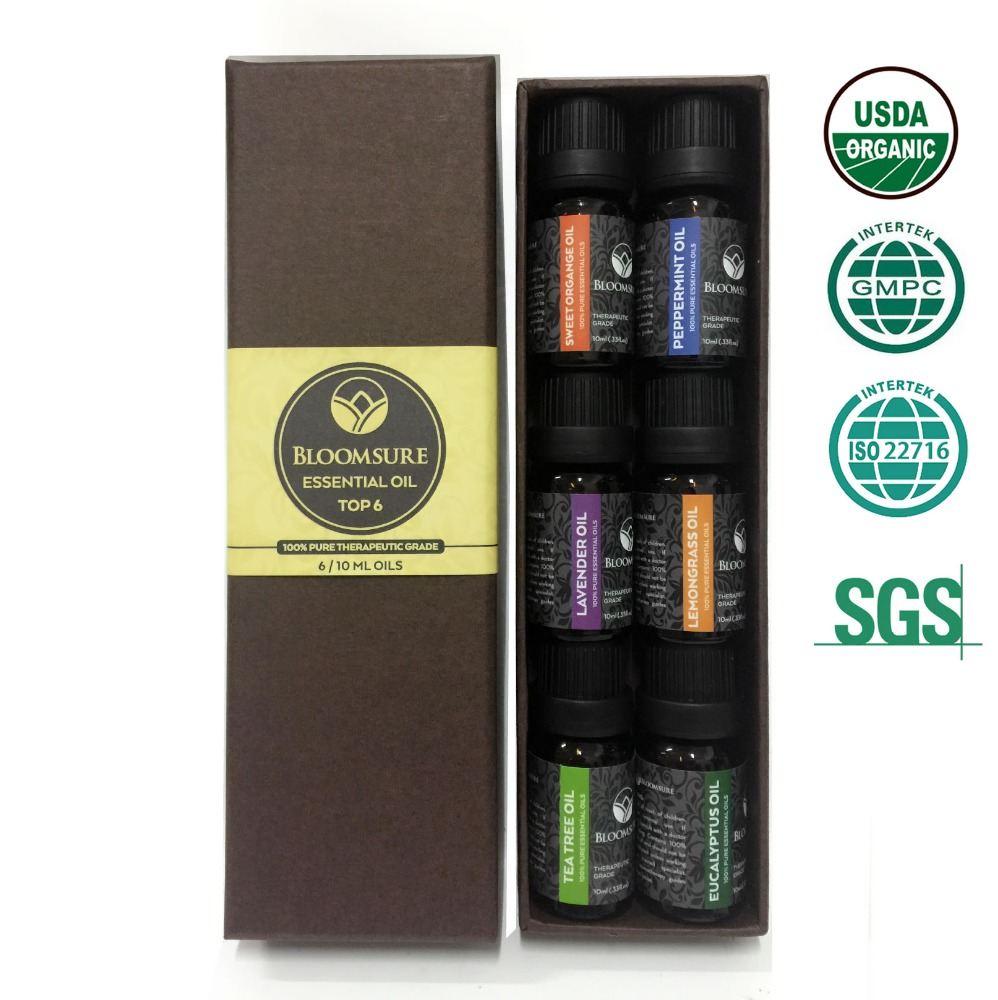 Aromatherapy Top Essential Oils Set 100% Pure & Therapeutic Grade - Basic Sampler Gift Set & Kit Lavender, Tea Tree-826110