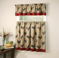 2 TIERS AND 1 VALANCE 3PIECE SET KITCHEN CURTAIN