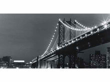Bn120 New York City Brooklyn Nightview Travel Attraction Bridge Banner Sign