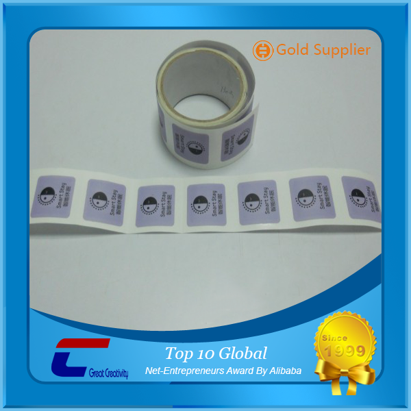 Programmable and reusable roll nfc baggage tag sticker adhesive paper hf rfid 13.56mhz tag
