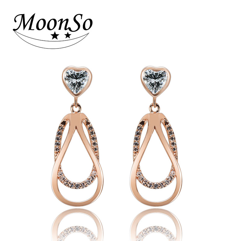 fashion Moonso simple drop earrings with heart zircon for women jewelry KE2316