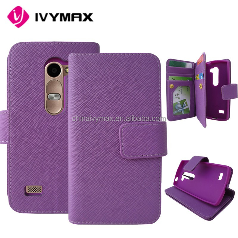 holder purple new design wallets cover case for LG Tribute 2