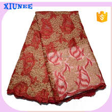 Hot Sales quality goods Fashionable Design White Polyester Net Lace Fabric with gold line handmade Allover