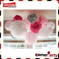 Top Sale High Quality Beautiful Pink Paper Pom Poms Diy