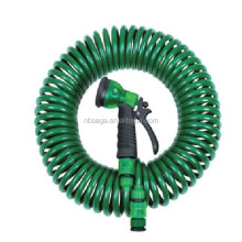50ft coil Garden Hose with brass coupling and 5 function spray gun