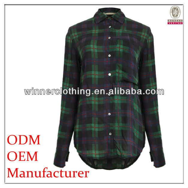 check/plaid cotton flannel casual blouse for women with collar