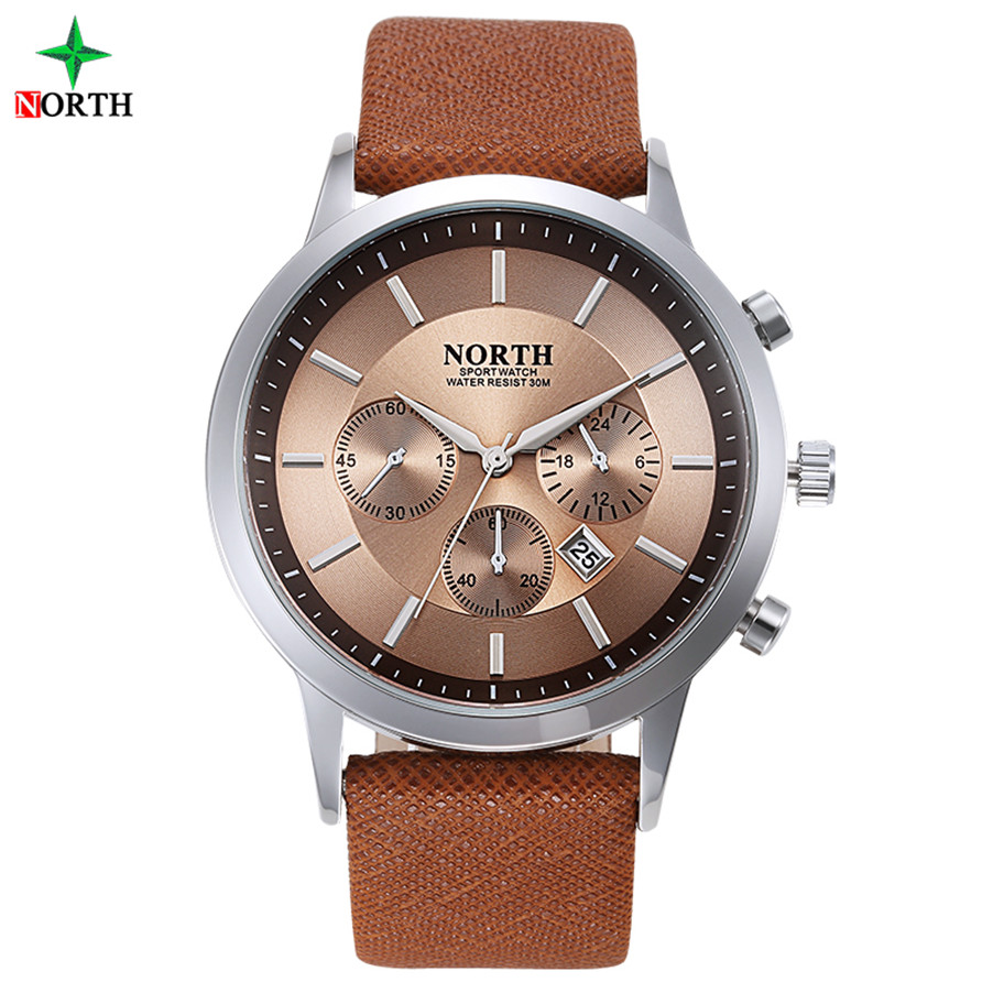 OEM Leather Bands Men's Brown Business Wathces