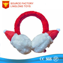 Shenzhen Factory Customize Christmas Day Children Plush Ear Cover Ice Jam Cartoon Ear Muff Red Christmas Hat Earflap