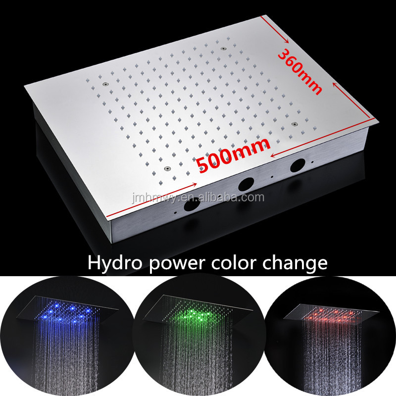 Amazing on the top hydro power led light rainfall embed ceiling shower head