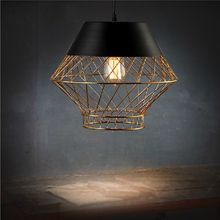 loft lamp simple brass color Hollow birdcage style iron pendant light for Cafe room