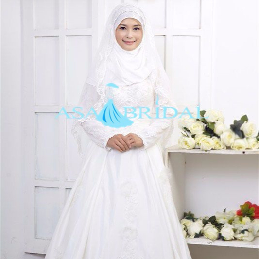 MSL103 Latest Custom A-line Arabic White long sleeve hijab muslim wedding dress