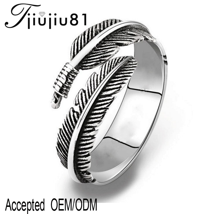Wholesale Fashion jewelry Silver plated <strong>black</strong> Feather ring Adjustable size Men's and women's ring