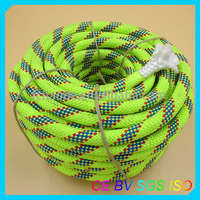 fluorescent green colored 48-strand braided polyester/nylon/pp rope