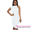 One Shoulder Ruffle Sleeve Midi white one shoulder tight dress