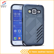 Newest style two in one tpu pc Gray color shockproof cell phone case for samsung galaxy core prime cover