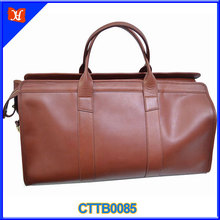 Tan and Brown color big szie men waxy leather genuine young sports travel bag