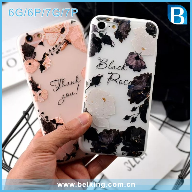 mobile phone shell,cover case for iphone 6 7 plus,tpu flower case