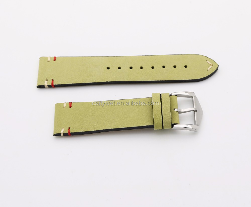 20 22mm New Luxury Men Lady Real Cowhide Suede Leather Yellow VINTAGE Wrist Watchband Strap Belt Silver Polish Pin Tongue Buckle