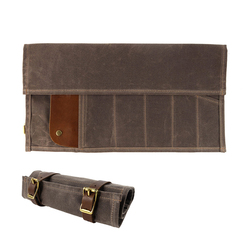 high quality and vintage waxed canvas leather motorcycle tool bag