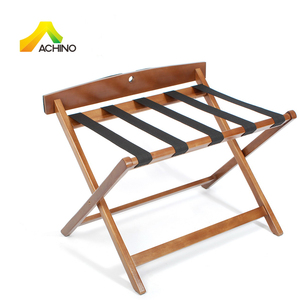 ACHINO Wholesale 530mm Wood Folding Luggage Rack Hotel Room Luggage Stand Solid Wood Suitcase Rack