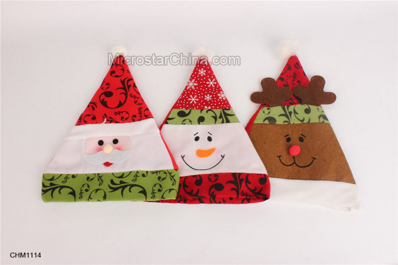 Merry Christmas Decorations For Home Cartoon Santa Claus Hats Snowman Elk Design Cute Kids Wear Gifts