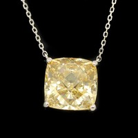 2015 Delicate Big Square Diamond Crystal Glass Yellow Sapphire Necklace