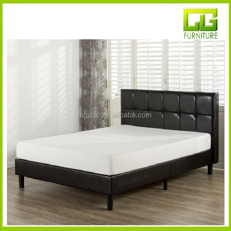 Grand Faux Leather Upholstered Square Detailed Platform Bed with Wooden Slats