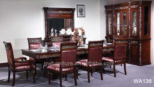 Solid wood dining room furniture antique hand carved for Dining room in german