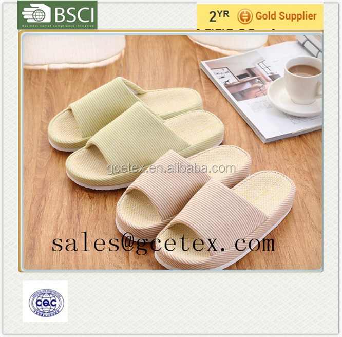 GCE1222 Super soft nature jute fbric wholesale thick sole <strong>slipper</strong>