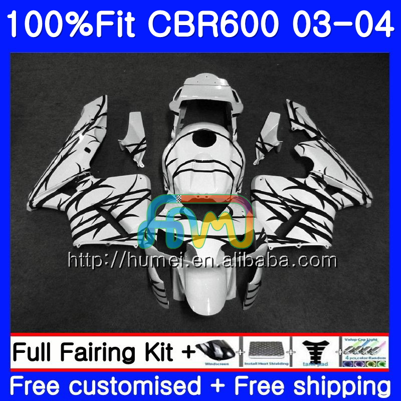Injection For HONDA CBR 600RR F5 CBR600 RR 03-04 11HM111 Black white CBR600RR F5 03 04 CBR600F5 CBR 600 RR 2003 2004 Fairing kit