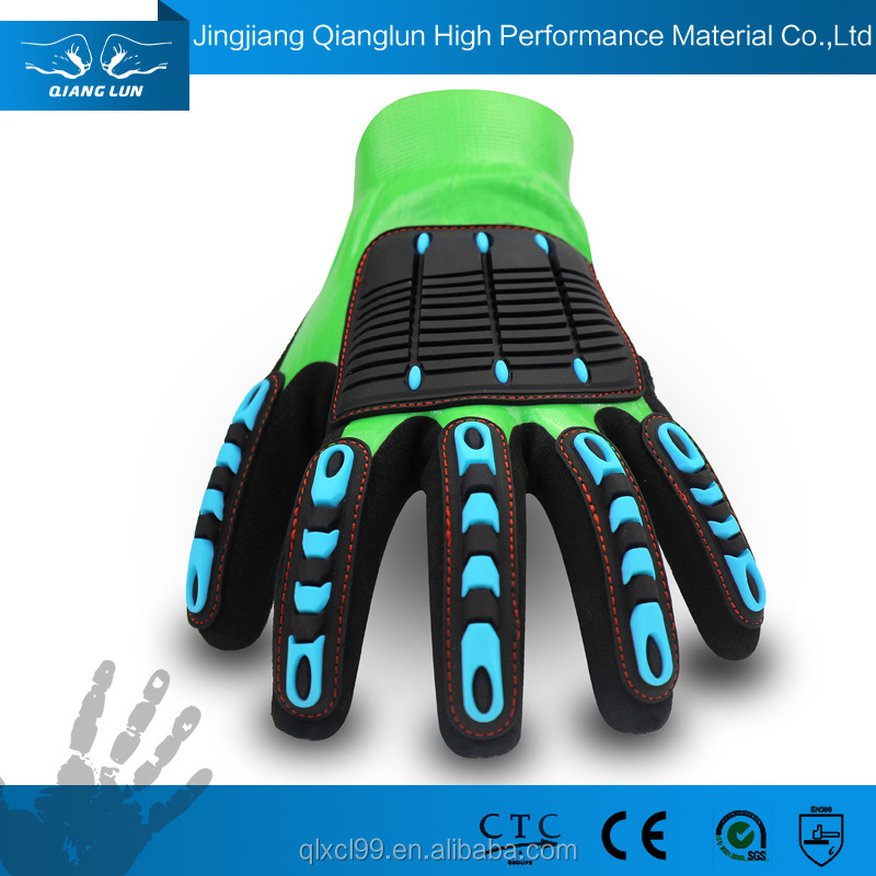 QL fast supplier machinery guard 13g nitrile coated glove