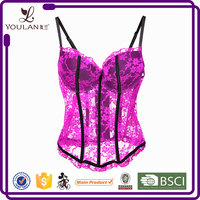 On Sale Comfortable Pink Transparent Lace Bra Sexy Mature Corset
