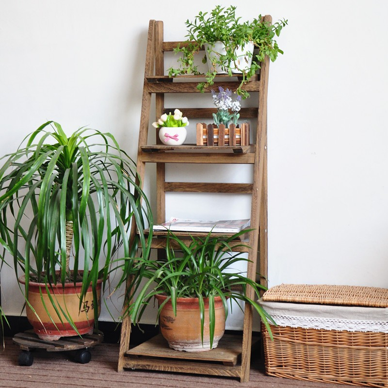 Ladder Design Wooden Plant Rack Flower Planter Shelf