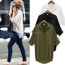 L769 Ruiyige New Fashion Women V Neck Solid Chiffon Blouse Sexy Lady Long Sleeve Casual Blouses Tops