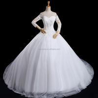 Long Sleeve long back Long Train Lace wedding dress patterns