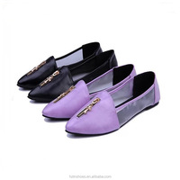 Newest mesh fabric breathable shoes with zipper decoration and casual ladies flat shoes, slip on loafer shoes