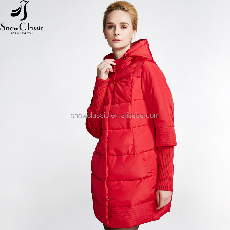 The year-end clearance snow classic women's thick long cotton foldable jacket