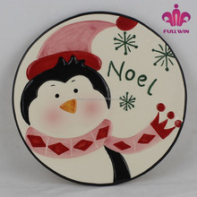 Factory price ceramic decorative christmas plates,christmas dinner plates with penguin