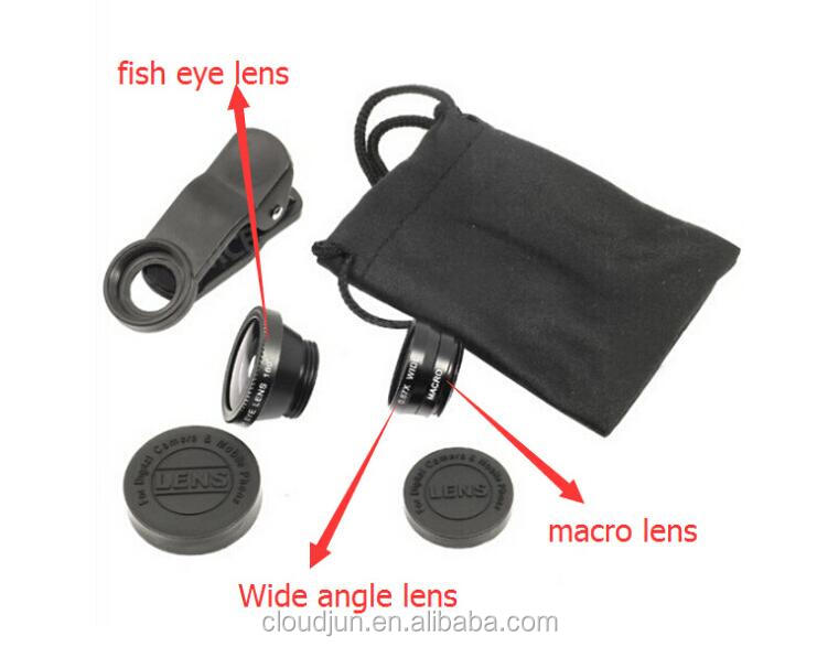 Cheap 3 in 1 mobile phone camera lens 0.67x wide angle+macro+fish eye for galaxy note 3/nikon/table PC optical lens