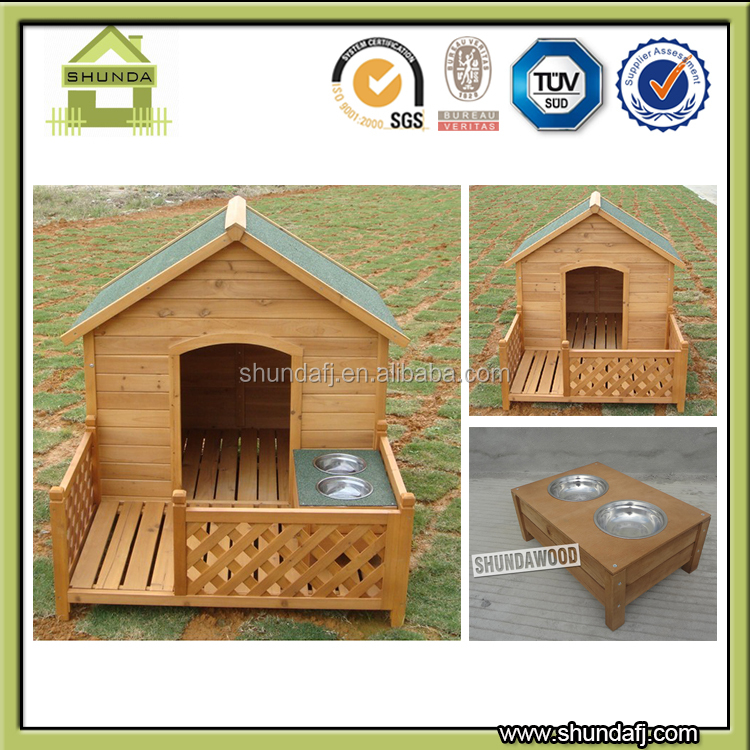 SDD02 Wooden Dog feeder stainless steel bowls pet food feeder design