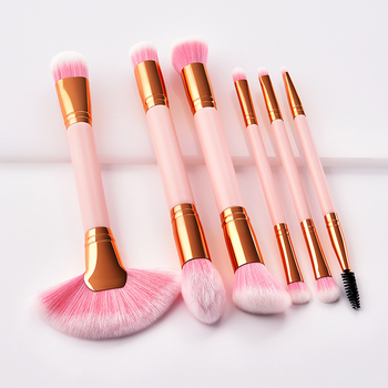 2018 brush customized available 6pcs double end makeup pink mini set make up sets for girls