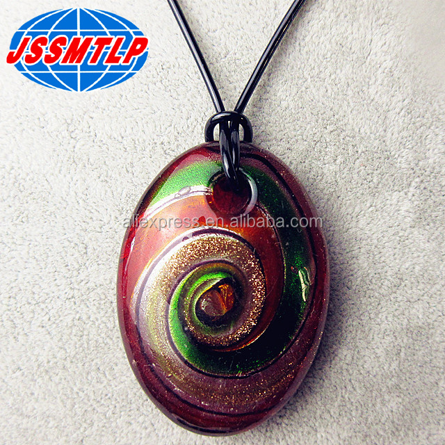 Custom handmade oval shape Fashion Art glass necklace jewelry women's clothing accessories