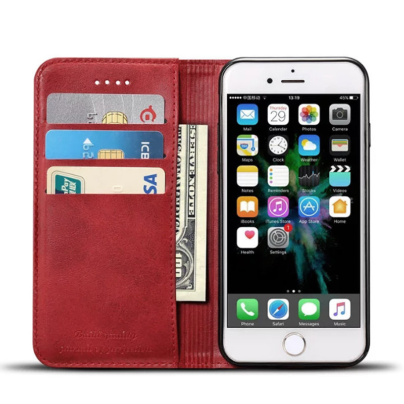 2017 Online Leather phone case store Leather flip cover for iPhone 7g 5.5 inch Protective Card Holder Wallet Cases