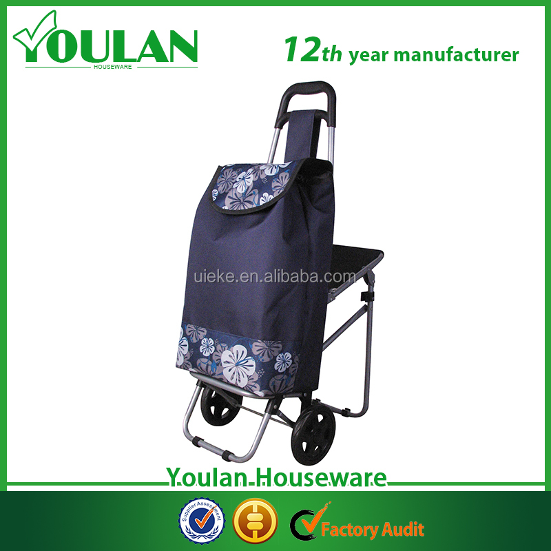 Convenient foldable shopping trolley bag with seat