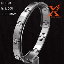 Superior Quality Stainless Steel Nail Style Love Bangle Bracelet Oval High Polish Silver Fits 21.5cm Wrists