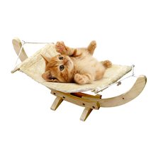 Latest product hanging swing soft plush wooden stand pet bed fleece cat hammock